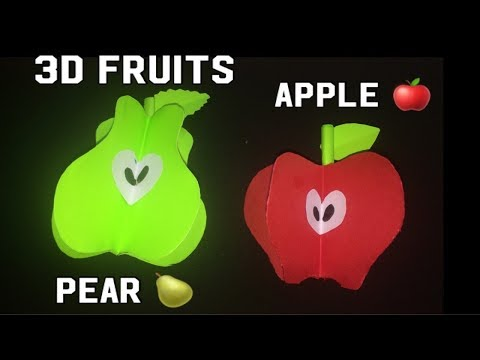 3D apple 🍎//3D pears 🍐 //how to make 3D fruits//fun crafts for kids//DIY easy paper fruits making