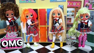 LOL OMG Doll Family First Day of High School Morning Routine - Barbie Classroom Video