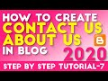 How to Create Contact Us And About Us Page In Blogger Tutorial -7 Hindi/Urdu 2019