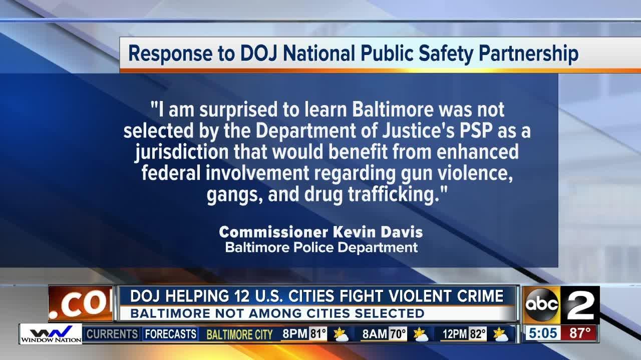 Baltimore Not Chosen For Department Of Justice Partnership Tobat  Violent Crime