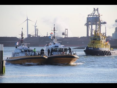 Fire on a pilot boat in the port of Hook of Holland (Rotterdam)