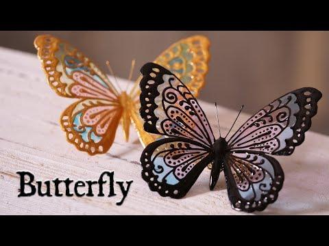 【レジン×アクリル絵の具】蝶々のブローチ DIY Frosting with resin [Butterfly brooch]