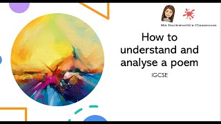 How to read and understand poetry: IGCSE
