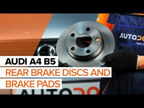 How to replace rear brake discs and rear brake pads on AUDI A4 B5  TUTORIAL | AUTODOC