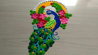 very easy Peacock rangoli designs with flowers for Ganesh FESTIVAL