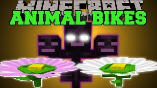 Minecraft: NEW ANIMAL BIKES (RIDE A GIANT FLOWER & THE WITHER!) Mod Showcase