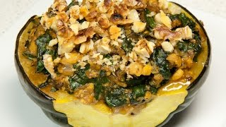 Tempeh Sausage & Kale Stuffed Acorn Squash (vegan & Low Salt!)
