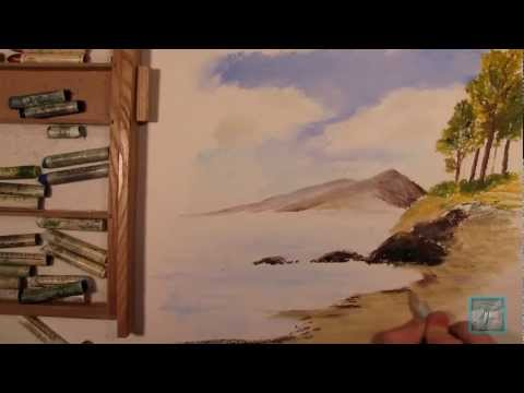 How to Draw a Summer Lake Using OIL PASTEL (Landscape Tutorial)