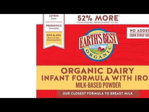 Earth&s Best Organic Low Lactose Sensitivity Infant Formula with Iron, Omega-3 DHA