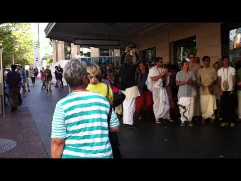 Hari Krishna Enjoying the moment on Queen Street in Auckland, New Zealand