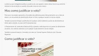 Eleições 2020 -  Como justificar o voto?