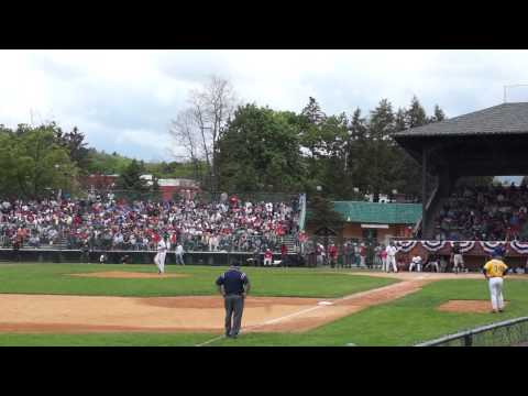 Hideki Matsui Hits A Homerun In The 2014 Hall Of Fame Classic At Doubleday Field