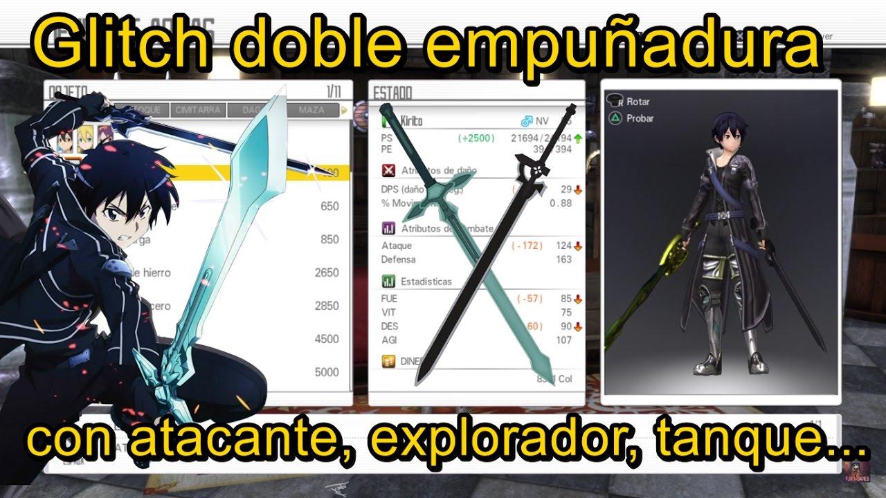 Sword Art Online Hollow Realization Glitch doble empuñadura con atacante,  explorador, tanque    1 02