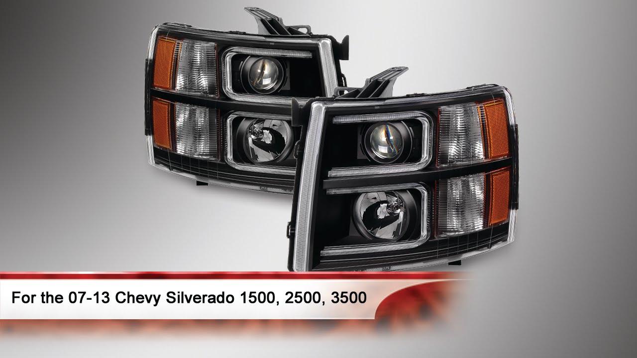 07 13 Chevy Silverado 1500 2500 And 3500 Halo Projector Headlights You