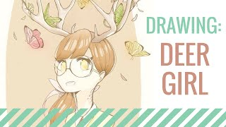 Drawing: Deer Girl.。.:*☆ Contest Entry!