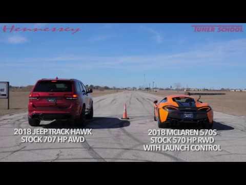 Mclaren 570s Vs Jeep Trackhawk Drag Race Youtube