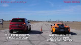 McLaren 570S vs Jeep TrackHawk Drag Race thumbnail