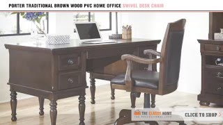 Porter Traditional Brown Wood PVC Home Office Swivel Desk Chair by Signature Design by Ashley