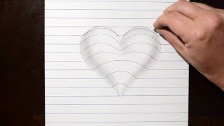 How to Draw a 3D Heart Shape in Line Paper - Trick Art for Kids