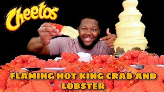 FLAMING HOT CHEETOS KING CRAB LEGS SEAFOOD BOIL + CHEESE SAUCE FOUNTAIN MUKBANG 먹방  Eating Show