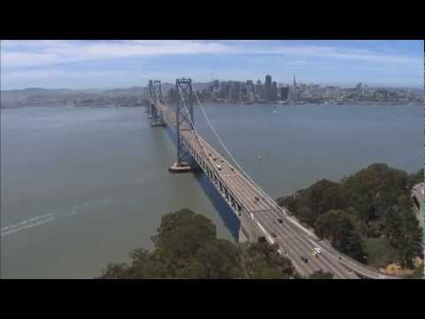 San Francisco Bay Bridge Oakland Aerial View of Traffic Cityscape - Helicopter Camera Video footage