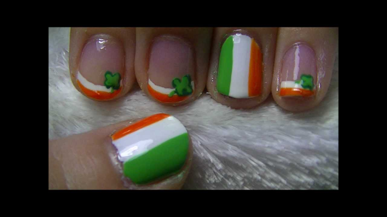 Irish Flag Nail Art - YouTube