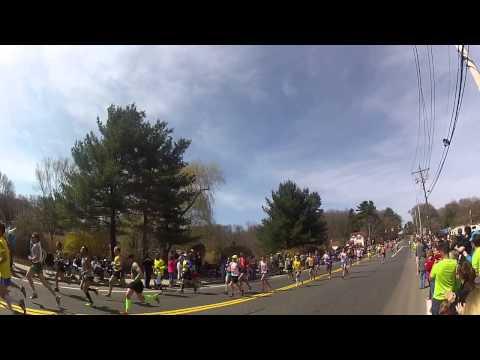 Boston Marathoners going through West Natick, MA