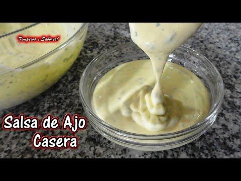 SALSA DE AJO Casera - receta rápida - Castellano