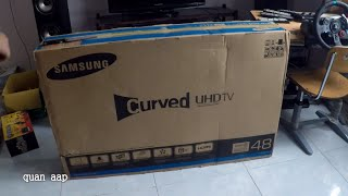 Unboxing SamSung 48 inch UHD 4K Curved Smart TV JU6600 Series 6 test video games