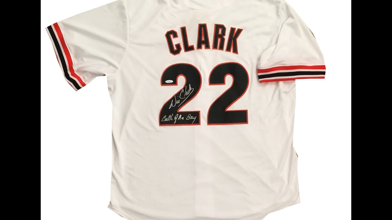 finest selection 7a962 d44d1 Will Clark Autographed San Franciso Giants 1989 World Series Jersey BATTLE  OF THE BAY