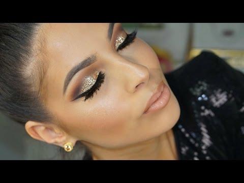 Golden Glitter Smokey Eye Makeup Tutorial 2016
