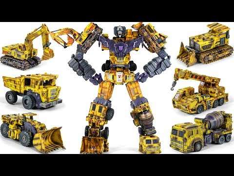 Transformers Custom Repaint TW G2 Yellow Devastator 6 Construction Vehicle Combine Big Robot Toys