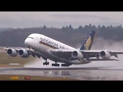 Zurich Airport Plane Spotting - Rainy Day w/ Takeoffs and Ground Traffic