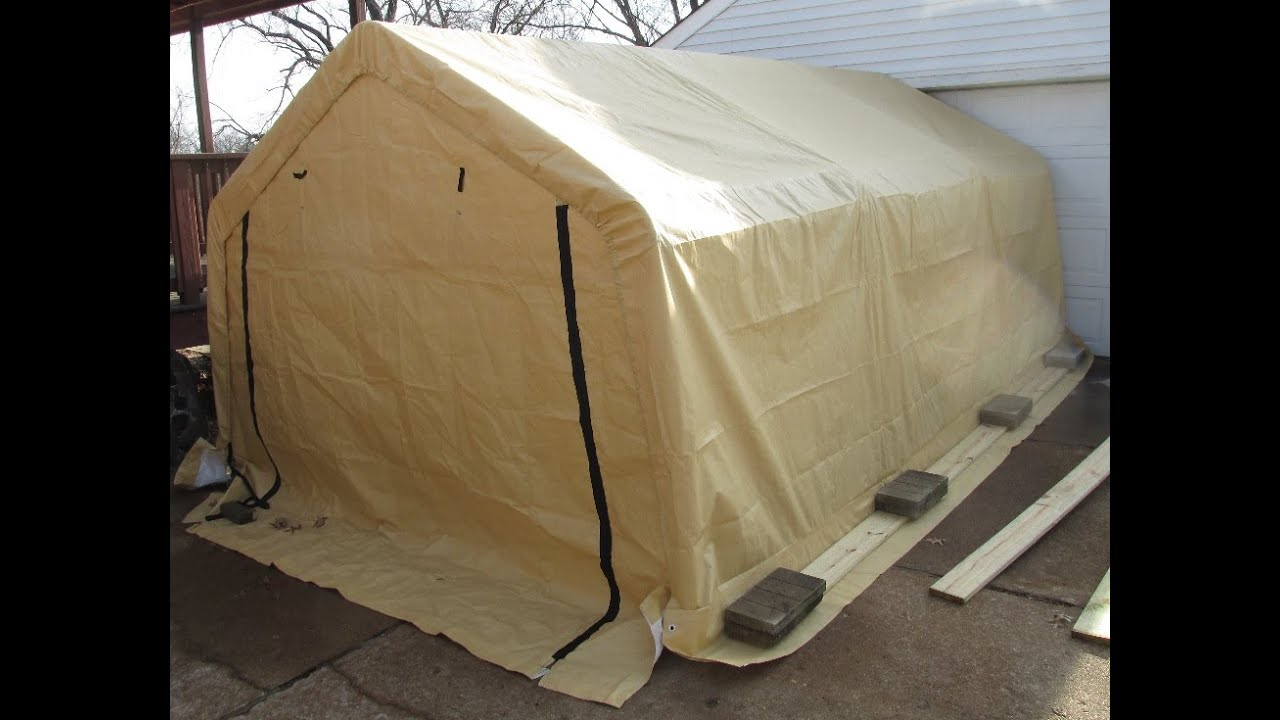 Harbor Freight Portable Garage Putting on the top  YouTube