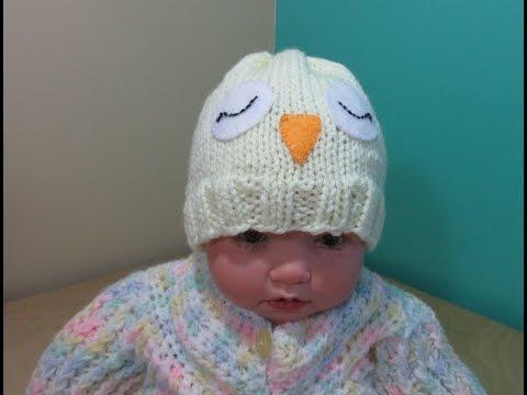 264a3e5723f2 Como tejer gorro lechuza para bebé recien nacido principiantes