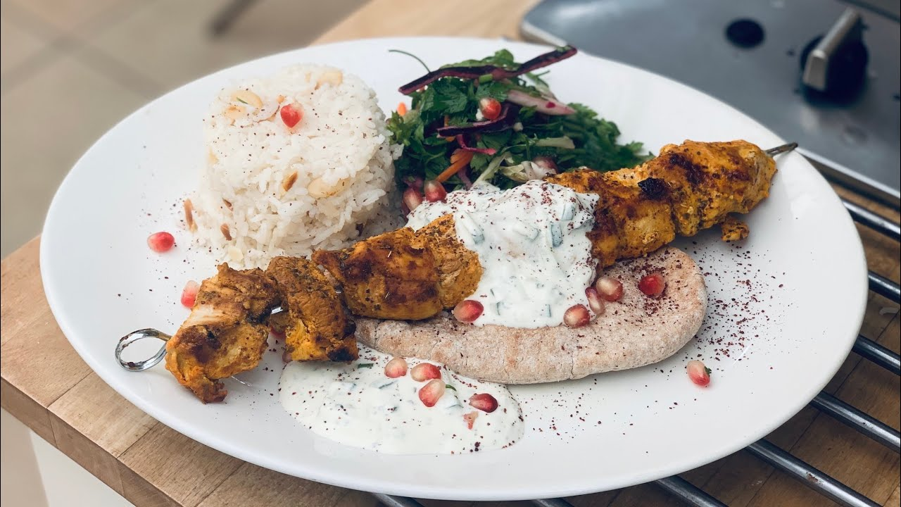 Turkish Chicken Shish with parsley and pomegranate salad, Almond rice and Cacik  | Best | Recipe