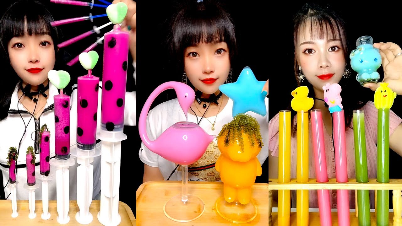 ASMR DRINKING SOUNDS Mysterious water Mukbang mix that's been colored with food coloring #225
