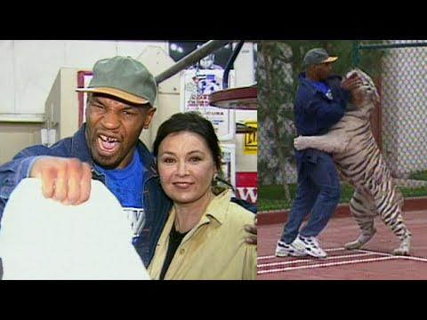 A Look Back: Mike Tyson Wrestles His Tiger at Mansion for Roseanne Barr
