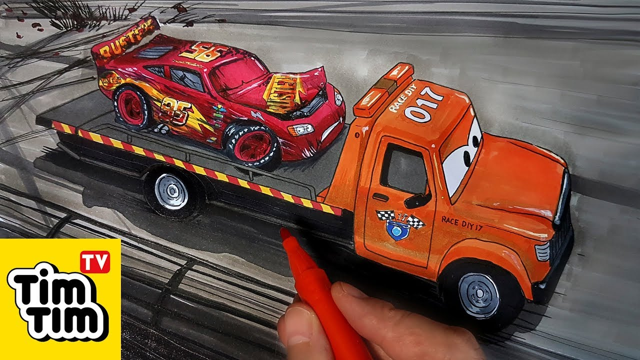 How to draw CARS 3 STU Scattershields Towing Injured ...