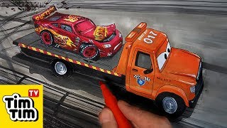 How to draw CARS 3 STU Scattershields Towing Injured Lightning McQueen | coloring pages for kids