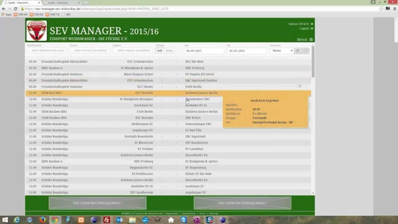 Sev Manager Spiele