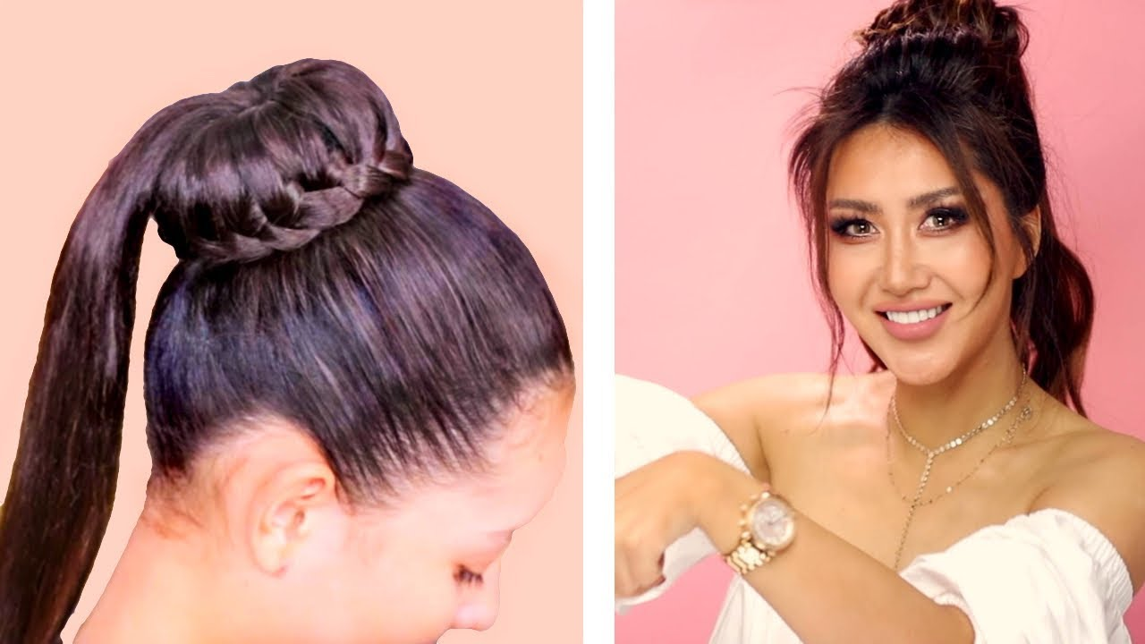 Braided Bun Into Puff Ponytail Cute Everyday Hairstyles