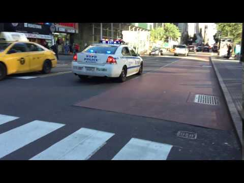 NYPD CRUISER RESPONDING ON WEST 34TH STREET IN THE MIDTOWN AREA OF MANHATTAN IN NEW YORK CITY.