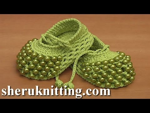 Crochet Beaded Baby Shoes Tutorial 81 part 1 of 2