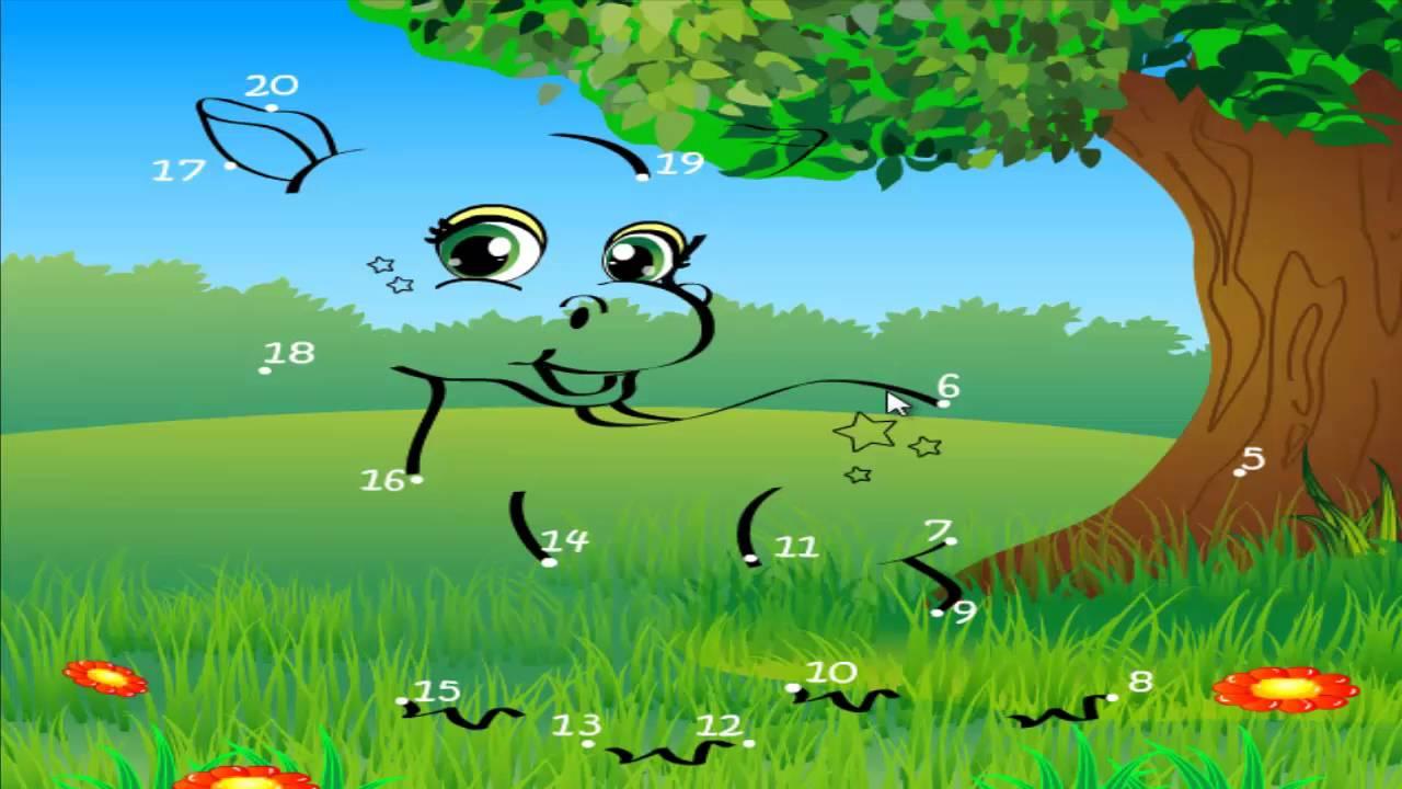Детские игры онлайн для детей. Рисунки по точкам ЛОШАДЬ ...