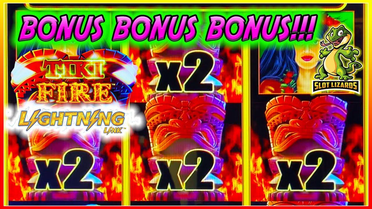 BONUS BONUS BONUS BIG WIN! HIGH LIMIT Tiki Fire Lightning Link SO MUCH FUN!
