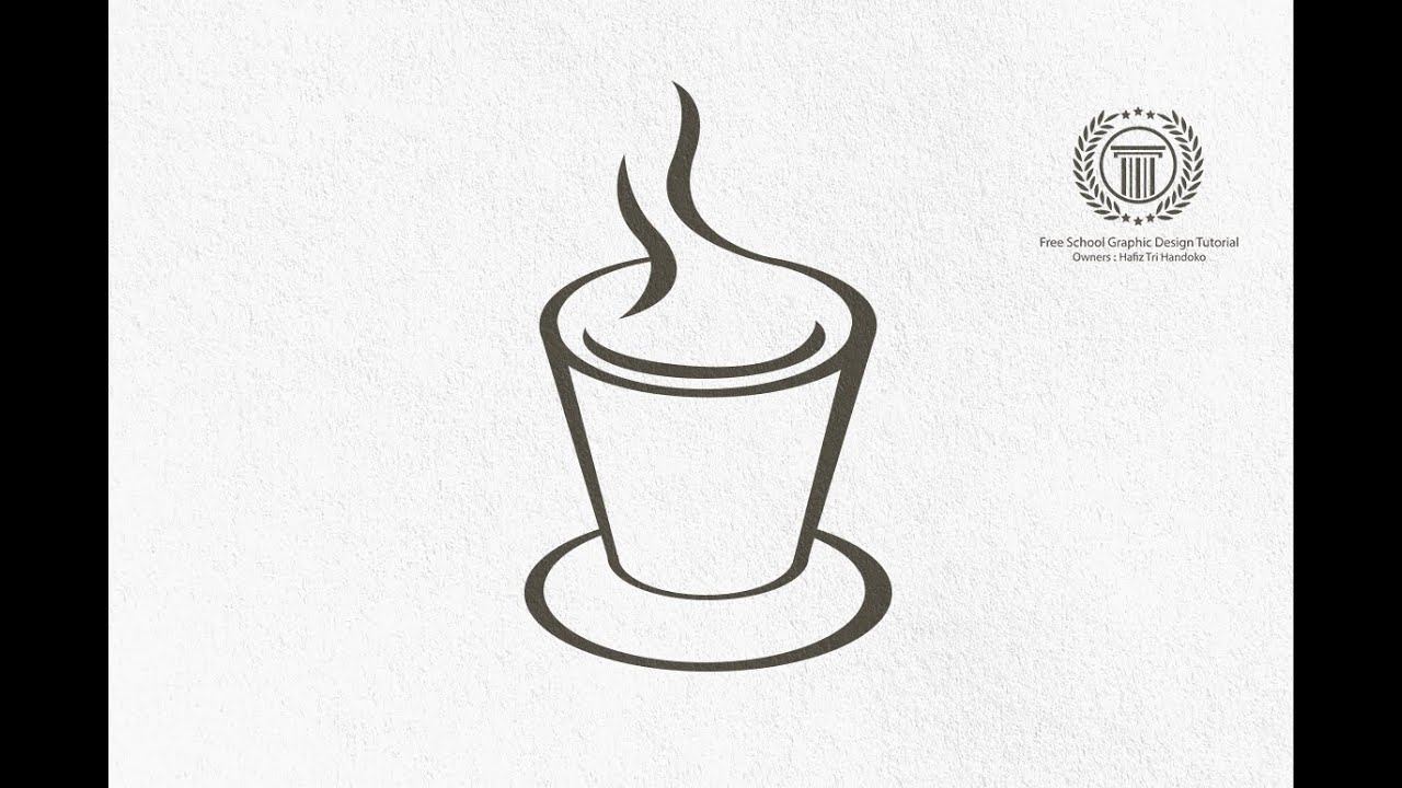 Coffee cup sketch - Simple Coffee Cup Shop Logo Design Tutorial Adobe Illustrator Logo Design No Coreldraw X7