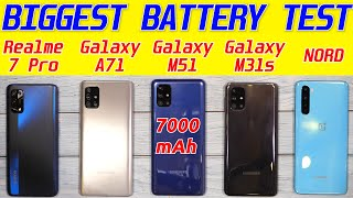 Samsung Galaxy M51 vs Oneplus Nord, Realme 7 Pro, M31s, A71 Battery Drain | Charging Test [Hindi]