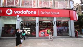 Panning Shot, Vodafone Shop On Oxford Street. Vodafone Ha...