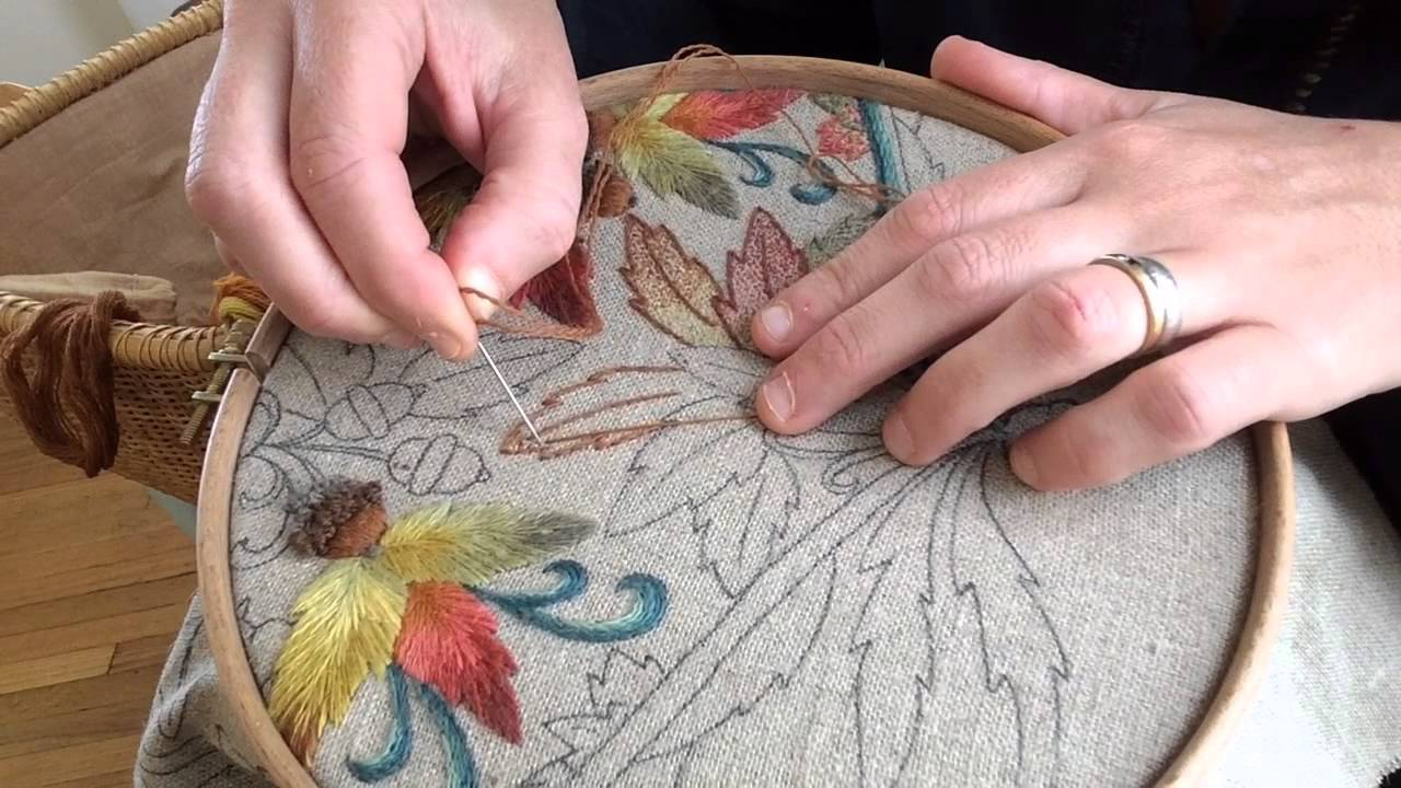 Crewel Embroidery Seed Stitch Gradient Leaves Youtube